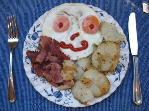 fried eggs, bacon, potatoes, breakfast
